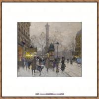 法国印象派艺术家尤金加林拉洛Eugene Galien Laloue巴黎风景印象油画高清大图 (5)