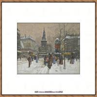 法国印象派艺术家尤金加林拉洛Eugene Galien Laloue巴黎风景印象油画高清大图 (28)