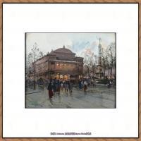 法国印象派艺术家尤金加林拉洛Eugene Galien Laloue巴黎风景印象油画高清大图 (22)