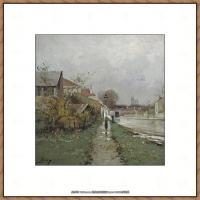 法国印象派艺术家尤金加林拉洛Eugene Galien Laloue巴黎风景印象油画高清大图 (53)