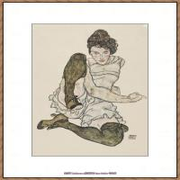 奥地利绘画大师埃贡席勒 Egon Schiele油画作品高清大图席勒绘画作品高清图片 (66)