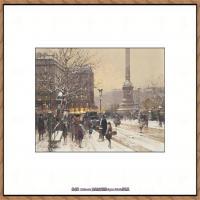 法国印象派艺术家尤金加林拉洛Eugene Galien Laloue巴黎风景印象油画高清大图 (67)
