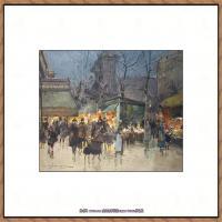 法国印象派艺术家尤金加林拉洛Eugene Galien Laloue巴黎风景印象油画高清大图 (90)