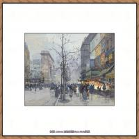 法国印象派艺术家尤金加林拉洛Eugene Galien Laloue巴黎风景印象油画高清大图 (68)