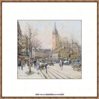 法国印象派艺术家尤金加林拉洛Eugene Galien Laloue巴黎风景印象油画高清大图 (7)