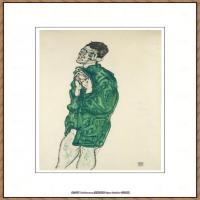 奥地利绘画大师埃贡席勒 Egon Schiele油画作品高清大图席勒绘画作品高清图片 (74)