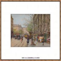 法国印象派艺术家尤金加林拉洛Eugene Galien Laloue巴黎风景印象油画高清大图 (63)