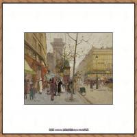 法国印象派艺术家尤金加林拉洛Eugene Galien Laloue巴黎风景印象油画高清大图 (44)