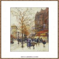 法国印象派艺术家尤金加林拉洛Eugene Galien Laloue巴黎风景印象油画高清大图 (36)
