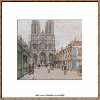 法国印象派艺术家尤金加林拉洛Eugene Galien Laloue巴黎风景印象油画高清大图 (59)