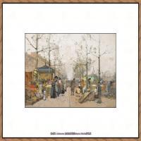 法国印象派艺术家尤金加林拉洛Eugene Galien Laloue巴黎风景印象油画高清大图 (12)