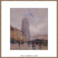 法国印象派艺术家尤金加林拉洛Eugene Galien Laloue巴黎风景印象油画高清大图 (29)
