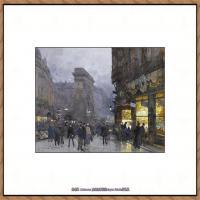 法国印象派艺术家尤金加林拉洛Eugene Galien Laloue巴黎风景印象油画高清大图 (74)