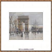法国印象派艺术家尤金加林拉洛Eugene Galien Laloue巴黎风景印象油画高清大图 (82)