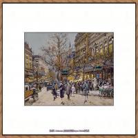 法国印象派艺术家尤金加林拉洛Eugene Galien Laloue巴黎风景印象油画高清大图 (76)
