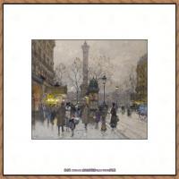 法国印象派艺术家尤金加林拉洛Eugene Galien Laloue巴黎风景印象油画高清大图 (3)