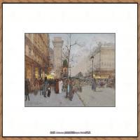 法国印象派艺术家尤金加林拉洛Eugene Galien Laloue巴黎风景印象油画高清大图 (21)