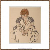 奥地利绘画大师埃贡席勒 Egon Schiele油画作品高清大图席勒绘画作品高清图片 (48)
