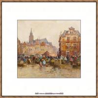 法国印象派艺术家尤金加林拉洛Eugene Galien Laloue巴黎风景印象油画高清大图 (75)