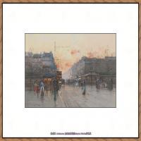法国印象派艺术家尤金加林拉洛Eugene Galien Laloue巴黎风景印象油画高清大图 (42)