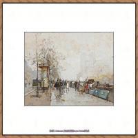 法国印象派艺术家尤金加林拉洛Eugene Galien Laloue巴黎风景印象油画高清大图 (78)