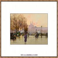 法国印象派艺术家尤金加林拉洛Eugene Galien Laloue巴黎风景印象油画高清大图 (24)