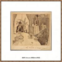 保罗西涅克Paul Signac法国新印象派点彩派大师西涅克绘画作品集The Dining Room (French,