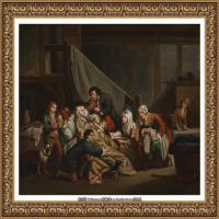 法国洛可可风格画家让巴蒂斯特格勒兹Jean Baptiste Greuze古典人物油画作品图片-The paralyti