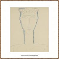 阿梅代奥莫迪利亚尼Amedeo Modigliani意大利著名画家绘画作品集手稿素描作品高清图片HEAD OF WOMA