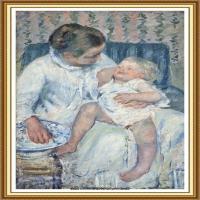 19世纪著名美国印象派女画家玛丽卡萨特Mary Cassatt绘画作品集油画作品高清图片 (96)