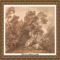 英国画家托马斯庚斯博罗Thomas Gainsborough肖像画风景画素描速写作品高清图片 (26)