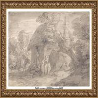 英国画家托马斯庚斯博罗Thomas Gainsborough肖像画风景画素描速写作品高清图片 (17)