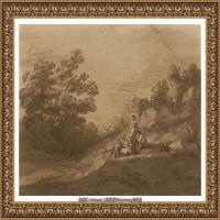 英国画家托马斯庚斯博罗Thomas Gainsborough肖像画风景画素描速写作品高清图片 (12)
