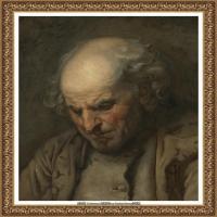 法国洛可可风格画家让巴蒂斯特格勒兹Jean Baptiste Greuze古典人物油画作品图片-STUDY OF AN