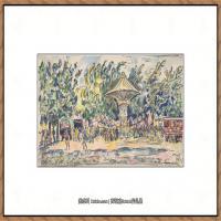 保罗西涅克Paul Signac法国新印象派点彩派大师西涅克绘画作品集Village Festival (La Vogu