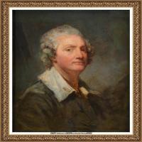 法国洛可可风格画家让巴蒂斯特格勒兹Jean Baptiste Greuze古典人物油画作品图片-Self portrai