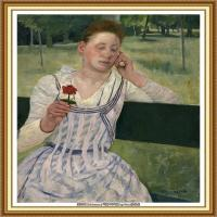 19世纪著名美国印象派女画家玛丽卡萨特Mary Cassatt绘画作品集油画作品高清图片 (87)