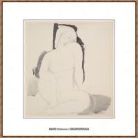 阿梅代奥莫迪利亚尼Amedeo Modigliani意大利著名画家绘画作品集手稿素描作品高清图片Seated Nude7