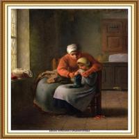 19世纪法国巴比松派画家让弗朗索瓦米勒Jean Francois Millet绘画作品集现实主义画家米勒 (33)