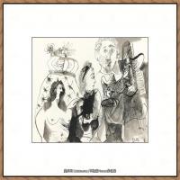 西班牙画家巴勃罗毕加索Pablo Picasso现代派素描毕加索手稿高清图片毕加索素描作品 (79)