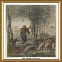 19世纪法国巴比松派画家让弗朗索瓦米勒Jean Francois Millet绘画作品集现实主义画家米勒 (12)