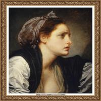 法国洛可可风格画家让巴蒂斯特格勒兹Jean Baptiste Greuze古典人物油画作品图片-Study Head o