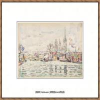 保罗西涅克Paul Signac法国新印象派点彩派大师西涅克绘画作品集River scene Rouen (French