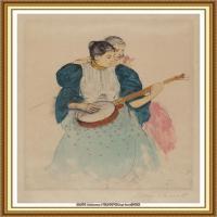 19世纪著名美国印象派女画家玛丽卡萨特Mary Cassatt绘画作品集油画作品高清图片 (82)