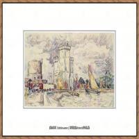 保罗西涅克Paul Signac法国新印象派点彩派大师西涅克绘画作品集-La Rochelle (French, Par