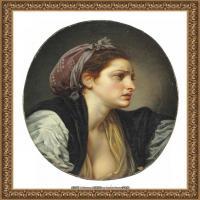 法国洛可可风格画家让巴蒂斯特格勒兹Jean Baptiste Greuze古典人物油画作品图片-PORTRAIT OF