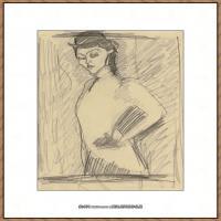 阿梅代奥莫迪利亚尼Amedeo Modigliani意大利著名画家绘画作品集手稿素描作品高清图片STUDY FOR TH