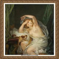 法国洛可可风格画家让巴蒂斯特格勒兹Jean Baptiste Greuze古典人物油画作品图片-THE AWAKENIN