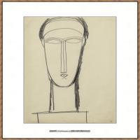 阿梅代奥莫迪利亚尼Amedeo Modigliani意大利著名画家绘画作品集手稿素描作品高清图片HEAD OF face