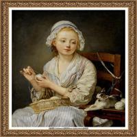 法国洛可可风格画家让巴蒂斯特格勒兹Jean Baptiste Greuze古典人物油画作品图片-The Wool Win